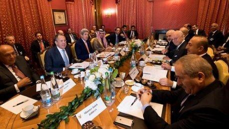 Al vertice di Losanna hanno partecipato i diplomatici degli Stati Uniti, Russia e dei principali Paesi del Medio Oriente. - foto swissinfo.ch
